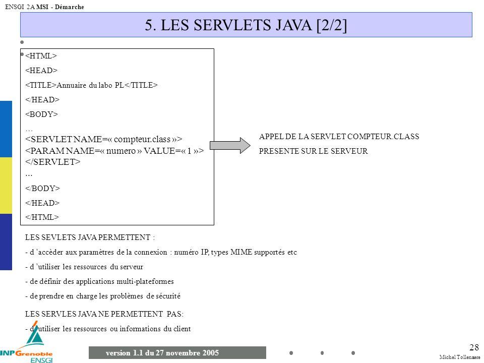 5. LES SERVLETS JAVA [2/2] <SERVLET NAME=« compteur.class »>